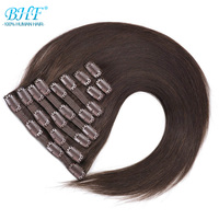 BHF Full Head Clip In Human Hair Extensions Machine Made Remy 20 160G 200G 100% Brazilian Straight Natural Human Hair Clip ins