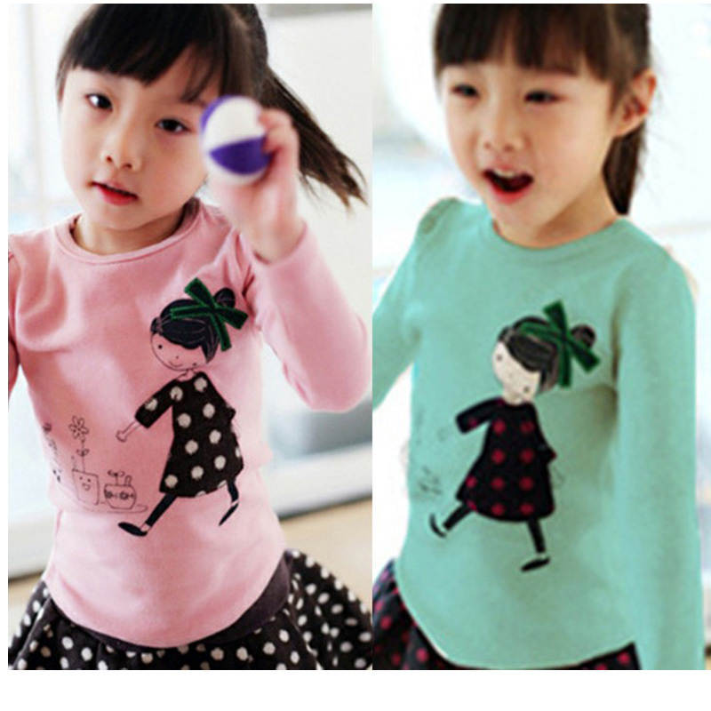 3-12 years Autumn Baby Girls Long Sleeve   Shirts   Patchwork Children Clothing Girl   Blouses   Kids Clothes J0078