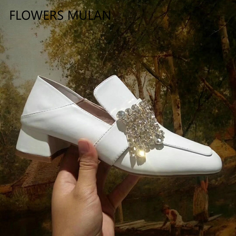 Fashion Famous Star Same Style Brand Shoes Black White Nude Color Leather Casual Loafers Square Toe Slip On Crystal Buckle Shoes цена 2017