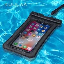 KUULAA Waterproof Phone Case Sealed Clear Bag For iPhone Xiaomi Huawei Samsung Ulefone Mobile Diving Swim Spa Boat Drifter