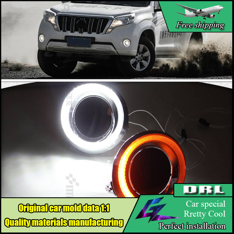 Car LED Daytime Running Light For Toyota Land Cruiser Prado 2700 / 4000  FJ150 LC150 2014 2015 LED Fog lamp Angle Eyes DRL for toyota fj cruiser 2007 13 double