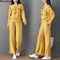 Spring Cotton Linen Two Piece Sets Women Ruffles Long Sleeve Tops And Wide Leg Pants Suits Casual Vintage Elegant Women's Sets