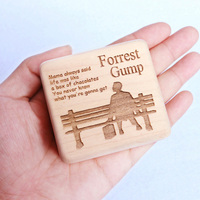 Sinzyo Handmade Wooden Forrest Gump Music Box Wood Carved Mechanism Musical Box Gift For Christmas Valentine's day