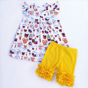 Image 2 - 2018 最新ミッキーアイスクリーム印刷フロックドレスとフリルパンツ卸売子供のブティックミルクシルク服セットかわいいグラム