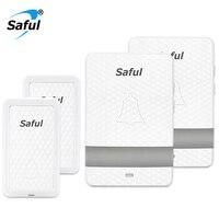 Saful Self powered Door bell EU/US/UK/AU Plug No Battery Waterproof Wireless Doorbell 28 Ringtons 150M Range Electric Home Ring
