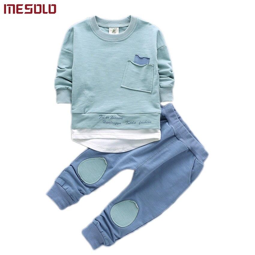 2 шт. одежда для малышей Одежда для мальчиков наряд для Детская рубашка для мальчиков Топы Корректирующие + Брюки для девочек повседневная о...
