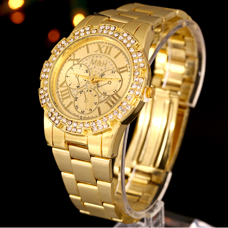 Luxury Women Gold Watch Men Unisex Quartz Wrist Wtaches Stainless Steel Band Rhinestone Crystal Relogio Feminino Gift rigardu fashion female wrist watch lovers gift leather band alloy case wristwatch women lady quartz watch relogio feminino 25