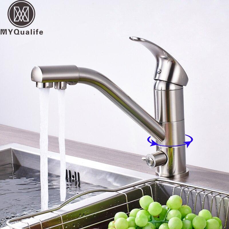 Матовый никель кухня питьевой кран двойной ручкой чистой воды Ванная Комната Раковина горячей и холодной смесители одно отверстие