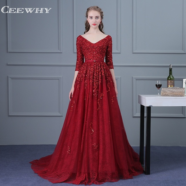 CEEWHY Burgundy Robe De Soiree Sexy V-Neck Lace Beading Evening Dresses Long Bride Banquet Luxury Evening Gowns Party Prom Dress