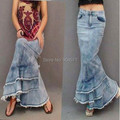 Fashion New Women's Summer Autumn Long Denim Skirts High Waist Mermaid Design Slim Tassel Patchwork Ruffles S XL
