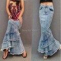 La moda de Nueva Otoño Verano de Las Mujeres Faldas Largas De Mezclilla Cintura Alta de La Sirena Diseño Delgado Borla Patchwork Ruffles S XL