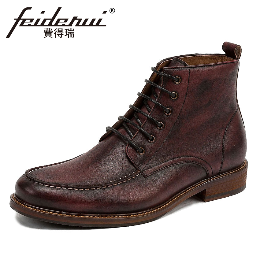 Vintage British Designer Genuine Leather Men's Ankle Boots Round Toe Lace-up Handmade Cowboy Riding Work Shoes For Man KUD42 new arrival luxury genuine leather men s handmade ankle boots round toe lace up alligator cowboy riding shoes for man hms84
