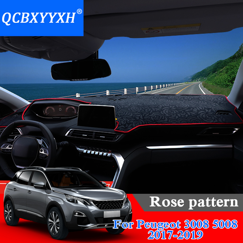 Car Styling Dashboard Protective Mat Shade Cushion Photophobism Pad Rose Pattern Carpet For Peugeot 3008 5008