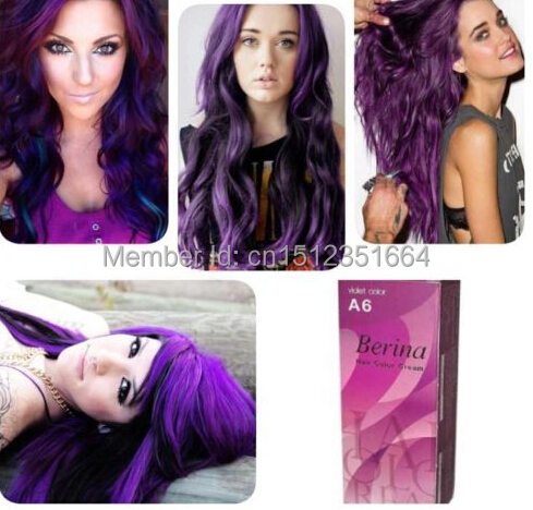 berina professionals hair color cream permanent hair dye color a6 violet free shipping - Coloration Violet Permanente