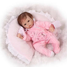 With Curved Mohair Adorable Reborn Dolls Baby 17 Inch Lifelike Princess Silicone Girls Cloth Body Realistic Kids Playmate