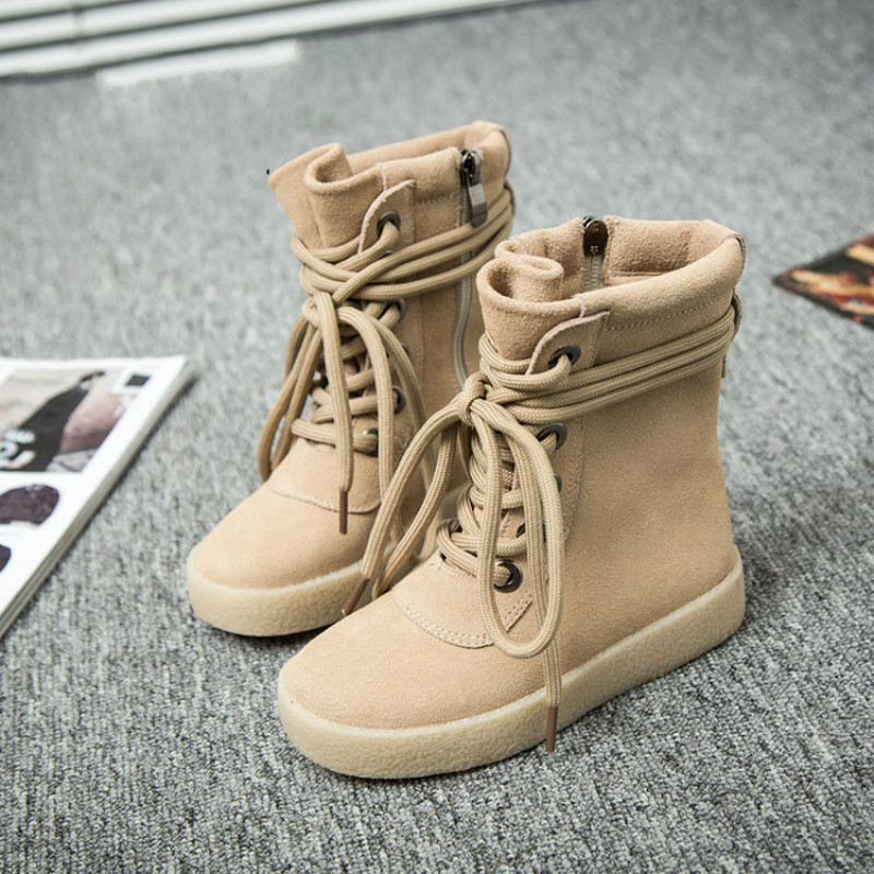 Children Genuine Leather Boots Girls Casual Warm Shoes 2017 Fashion Baby Winter Boots Kids Leisure Shoes Martin Boots Lace-up цена 2016