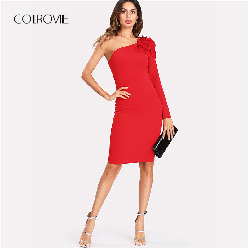 COLROVIE Asymmetrical Tiered Ruffle Shoulder Fitted Dress Red One Shoulder Long Sleeve Dress 2018 Short Ruffle Female Dress