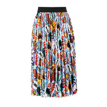 2019 Street Style A-line Spring New-Coming Europen Cartoon Pattern High Elasticity Pleated skirt