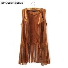 Showersmile бренд женщин бахромой жилет из искусственного замша куртка без рукавов кисточкой этническая жилет дамы жилет мода женский clothing