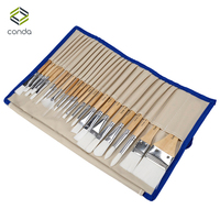 24 Pcs Chip Paint Brushes Set CONDA Watercolor Oil Paint Brush Professional Synthetic Short Handle With