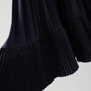 Image 4 - 2020 סתיו חדש הגעה קוריאנית סדיר חצאית מתוק קפלים שיפון חצאית Faldas Largas Elegantes שחור חצאיות משלוח חינם
