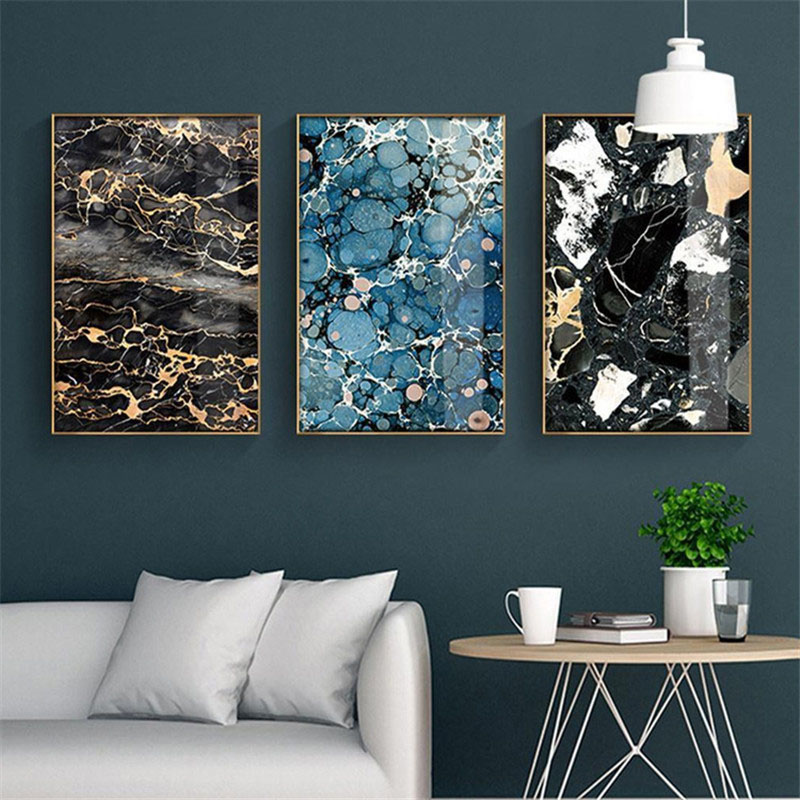 HAOCHU Nordic Modern Abstract Realistic Marble Lines Blue Black Personality Home Decoration Canvas Oil Painting Hotel Poster Art