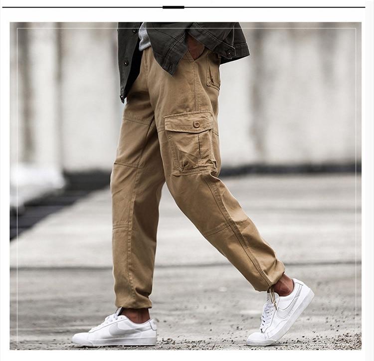 zíper streetwear calças do exército carga calças