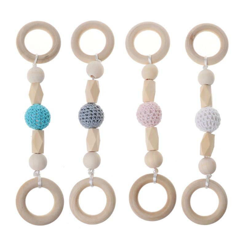 Baby Play Gym Montessori Toys Baby Teether Wood Ring Crochet Beads Wooden Rattle Baby Accessories