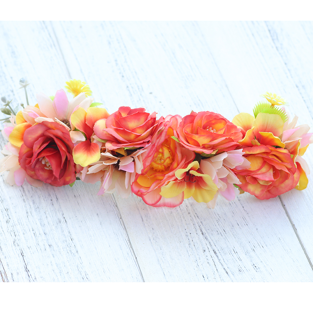 Orange Purple Flower Headband Festival Wedding Floral Garland Summer