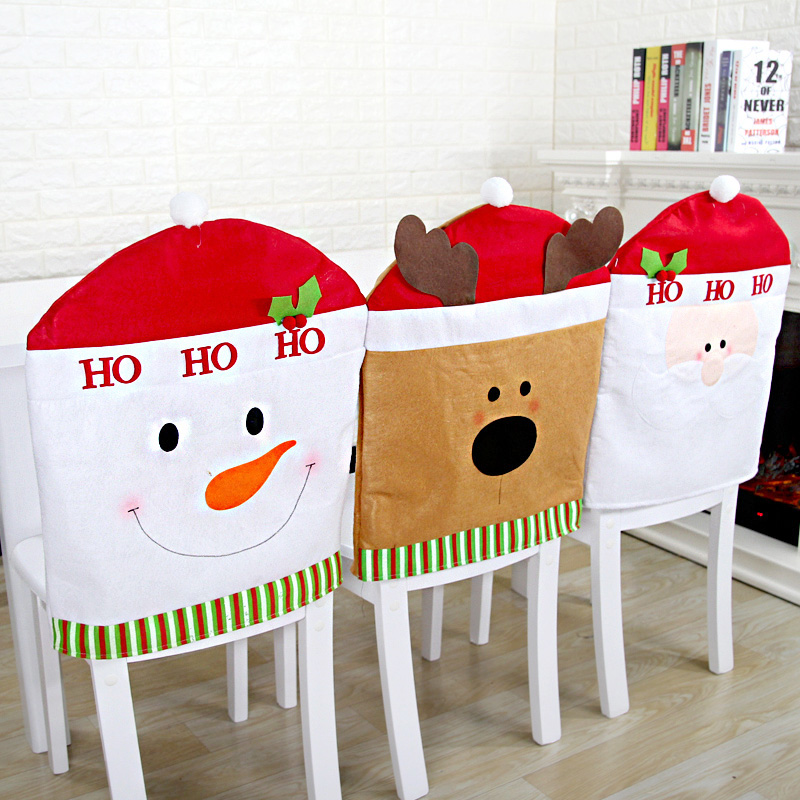 Lovely Christmas Chair Covers Santa Claus Snowman Reindeer Kitchen Table Backrest Hat Dinner Seat Back Cover