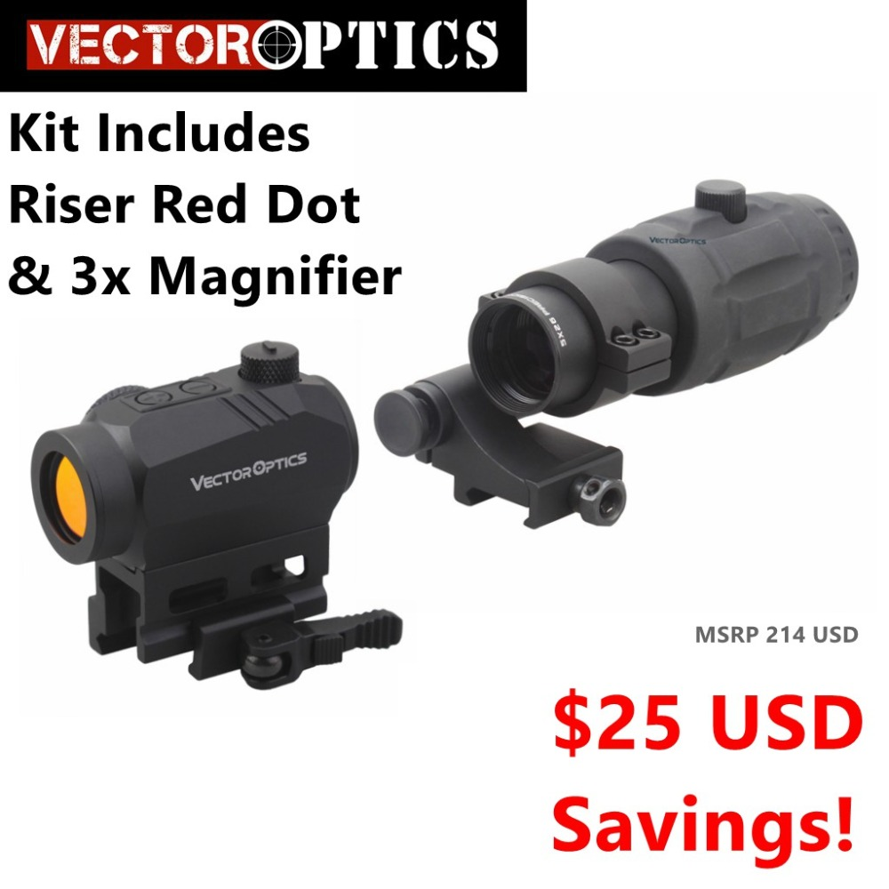 Vector Optics Magnified Red Dot Sight Kit Includes Red Dot Riser 3x Magnifier option for 4x
