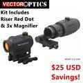 Векторная оптика увеличенный Красный точка зрения комплект-включает в себя красный точка  Riser  и 3x лупа вариант для 4x 5x Лупа высшего качества...
