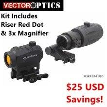 Wektor optyka powiększony kolimator red dot Kit zawiera czerwona kropka, Riser i 3x lupa opcja dla 4x 5x lupa najwyższa jakość marki