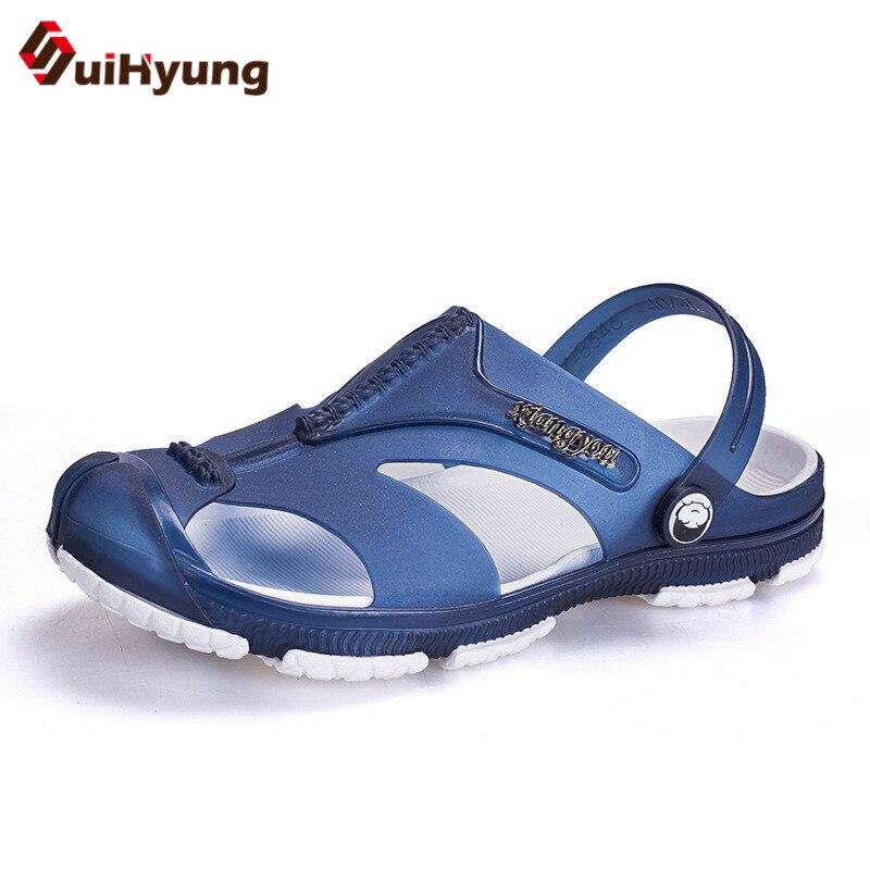 Suihyung 2018 Conception Hommes D'été Plage Pantoufles Patchwork Gelée Chaussures Non-slip Loisirs Plat Sandales Flip Flops Pantoufles de Bain