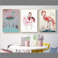 Nordic Style Flamingo Poster Print Minimalist Wall Art Canvas Painting Landscape Home Decor living room