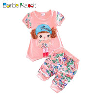 Summer baby girls clothing short sleeve suit 2016 Korean infant baby girl child clothes casual sports print t shirt + pants sets