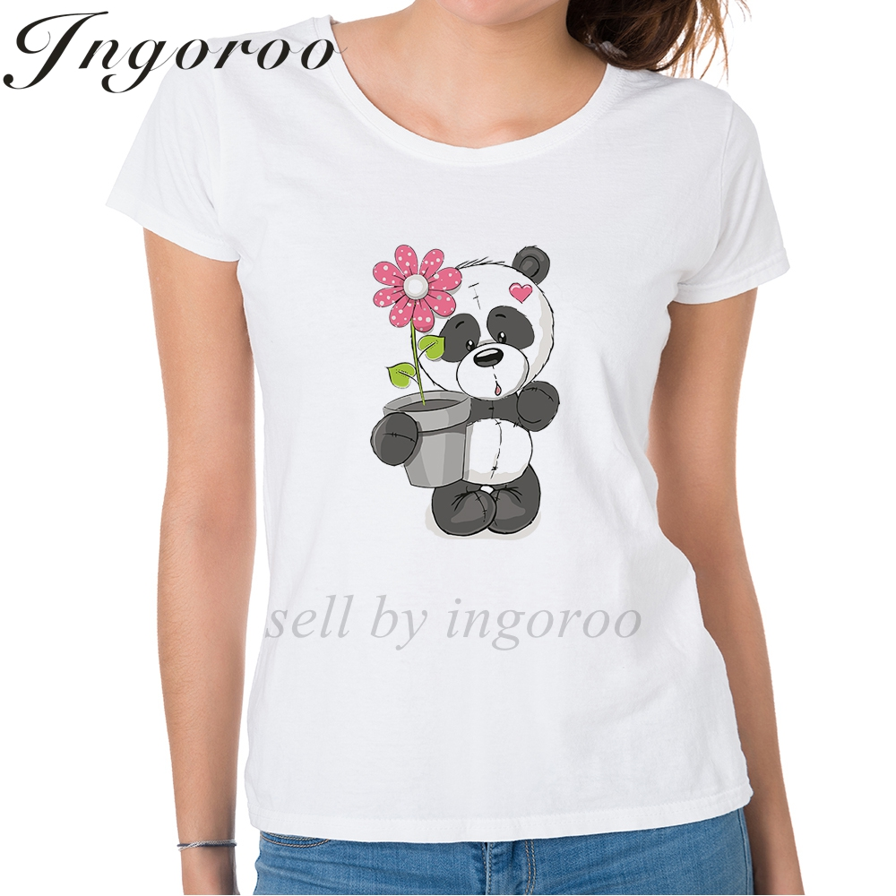 Babaseal Panda With Flowers Print Letter T Shirt Alien Korean Casual Shirts Funny Off White Tee Tops Summer Trippy Cactus Shirts