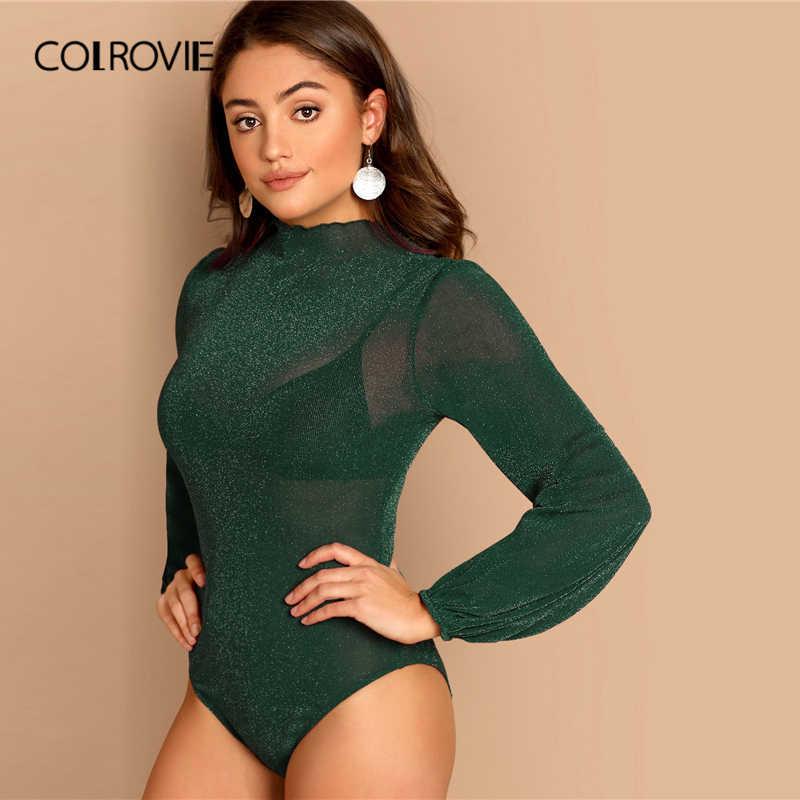 COLROVIE Green Mock-neck Glitter Sheer Skinny Sexy Bodysuit женская одежда 2019 Мода епископ с длинным рукавом Офис Женские Комбинезоны