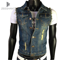 XXXXXXL Ripped Jean Jacket Mens Denim Vest Jeans Waistcoat Cowboy Brand Sleeveless Jacket Male Tank Top