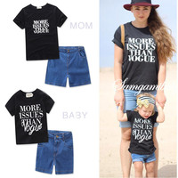 2017 Family Matching Clothes Summer Mother And Daughter Clothes Letter T Shirt Denim Shorts 2 Pcs