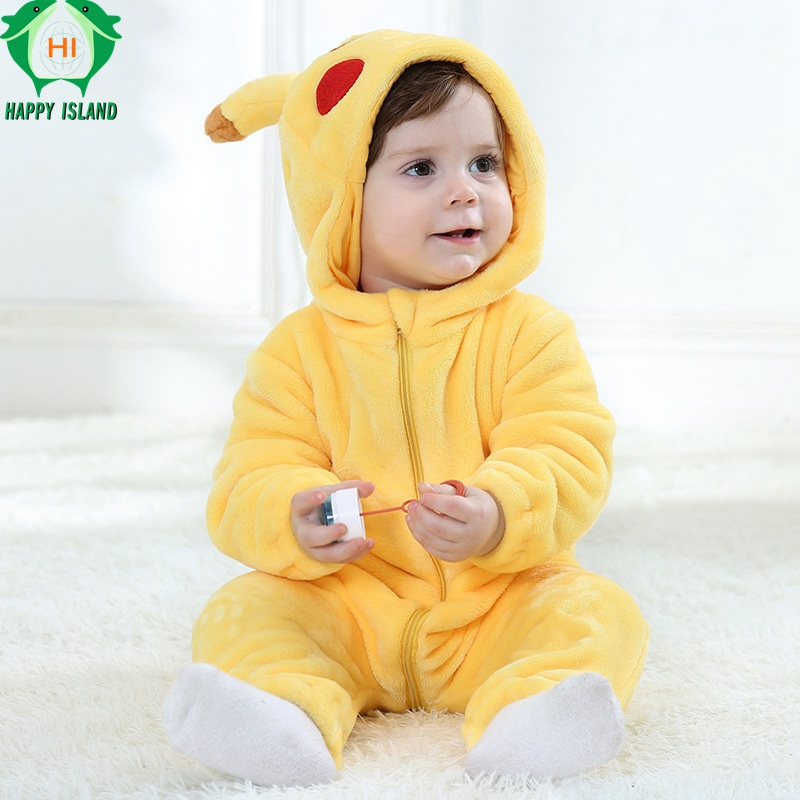 HAPPY ISLAND Baby   Romper   Long Sleeves 100% Flannel Baby Pajamas Cartoon Pikachu Printed Newborn Baby Girls Boys Lovely Clothes