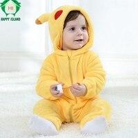 HAPPY ISLAND Baby Romper Long Sleeves 100 Flannel Baby Pajamas Cartoon Printed Newborn Baby Girls Boys