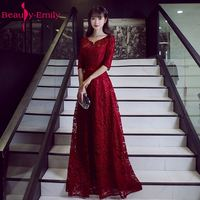 2017 Fashion Custom Made Long Red Evening Dress Boat Neck A Line Three Quarter Lace Up