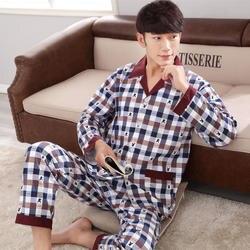 Весна и осень A04 мужчин пот с длинными рукавами хлопковый Кардиган пижамы