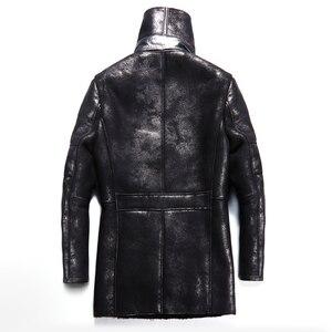 Image 3 - Chaqueta de piel de oveja auténtica Popular para hombre, chaqueta de piel de oveja genuina para hombre, prendas de vestir cálidas para invierno, abrigo de piel negro para hombre, talla grande 4XL