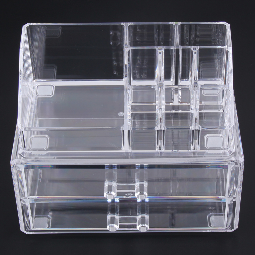 Transparent Clear Two Layer Drawers Acrylic Cosmetic Organizer Drawer Makeup Case Storage Insert Holder Box Free Shipping large box acrylic makeup cosmetic case stand insert holder rack organizer glossy makeup organizer 3 layer drawers transparent