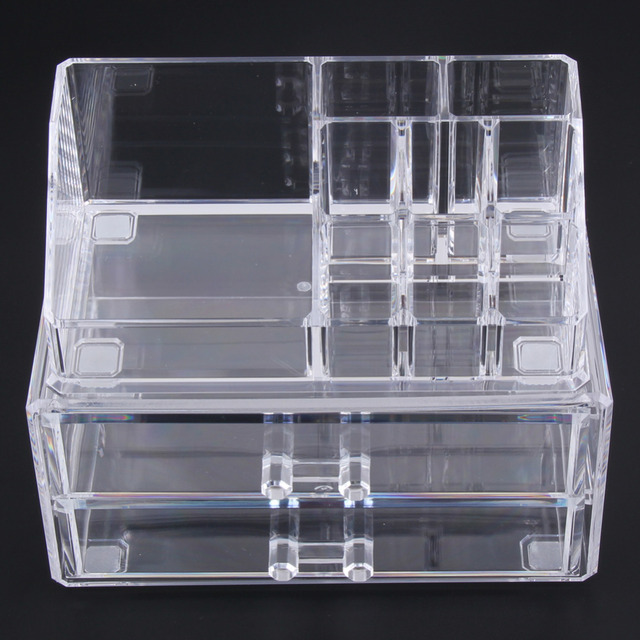 Transparent Clear Two Layer Drawers Acrylic Cosmetic Organizer Drawer Makeup Case Storage Insert Holder Box Free Shipping