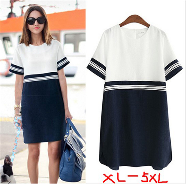 deb7082b8540 2018 Summer Plus Size Women Clothing Casual Bodycon Dress Short Sleeve  Cotton Linen Chiffon Stitch Stripe Dress vestidos 5XL