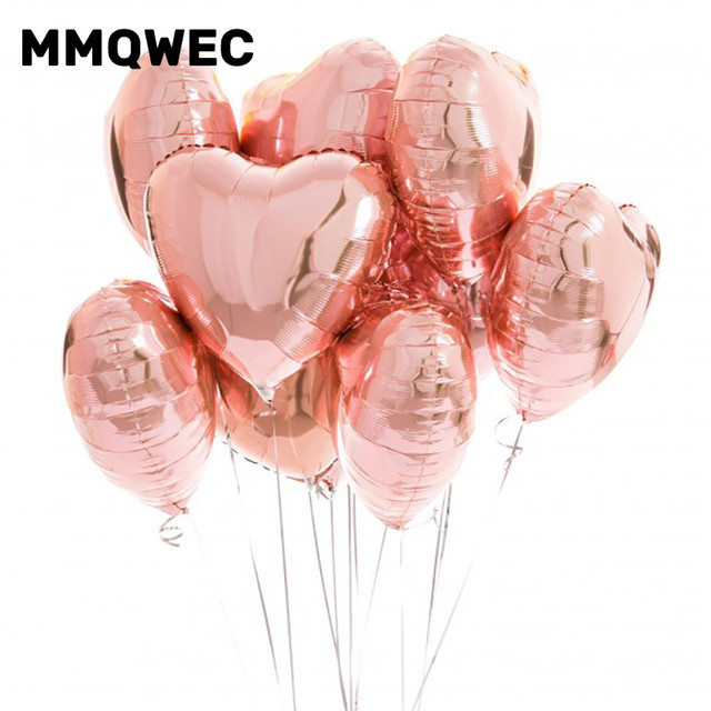 5pcs Wedding Foil Balloon Rose Gold Love Heart Helium Balloons Valentines Day 1st Happy Birthday Party Decoration Supply Baloon