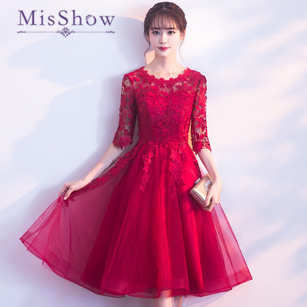 2018 New Arrival Knee Length   Bridesmaid     Dress   Red Tulle Half Sleeves Tulle Women Wedding Guest Party   Dresses